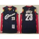 Men's Cleveland Cavaliers #23 LeBron James Navy 2008 Throwback Swingman Jersey