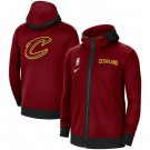 Men's Cleveland Cavaliers Red Showtime Performance Full Zip Hoodie Jacket