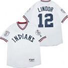 Men's Cleveland Indians #12 Francisco Lindor White 1976 Turn Back The Clock Jersey