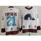 Men's Colorado Avalanche #21 Peter Forsberg White 2021 Reverse Retro Authentic Jersey