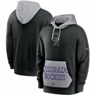 Men's Colorado Rockies Black Heritage Tri Blend Pullover Hoodie