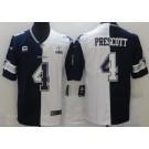 Men's Dallas Cowboys #4 Dak Prescott Limited Navy White Split Jersey