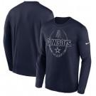 Men's Dallas Cowboys Navy Icon Legend Performance Long Sleeve T-Shirt