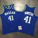 Men's Dallas Mavericks #41 Dirk Nowitzki Blue 1998 Throwback Authentic Jersey