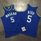 Men's Dallas Mavericks #5 Jason Kidd Blue 1994 Throwback Authentic Jersey