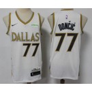 Men's Dallas Mavericks #77 Luka Doncic White City Icon Sponsor Swingman Jersey