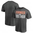 Men's Denver Broncos Heather Charcoal Stronger Together Printed T-Shirt 0803