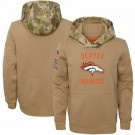 Men's Denver Broncos Khaki 2019 Salute to Service Therma Printed Pullover Hoodie