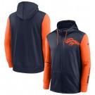 Men's Denver Broncos Navy Orange Fan Gear Mascot Performance Full Zip Hoodie