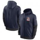 Men's Denver Broncos Navy Sideline Impact Lockup Performance Full Zip Pullover Hoodie