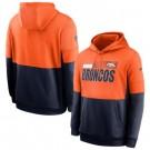 Men's Denver Broncos Orange Navy Sideline Impact Lockup Performance Pullover Hoodie