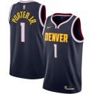 Men's Denver Nuggets #1 Michael Porter Jr Navy Icon Hot Press Jersey