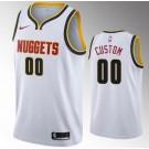 Men's Denver Nuggets Custom White Icon Hot Press Jersey