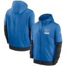 Men's Detroit Lions Blue Sideline Impact Lockup Performance Full Zip Pullover Hoodie
