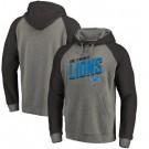 Men's Detroit Lions Gray Slant Strike Tri Blend Raglan Pullover Hoodie