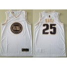 Men's Detroit Pistons #25 Derrick Rose White Gold Icon Swingman Jersey