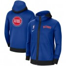 Men's Detroit Pistons Blue Showtime Performance Full Zip Hoodie Jacket