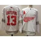 Men's Detroit Red Wings #13 Pavel Datsyuk White 2021 Reverse Retro Authentic Jersey