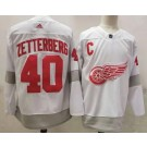 Men's Detroit Red Wings #40 Henrik Zetterberg White 2021 Reverse Retro Authentic Jersey
