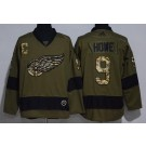 Men's Detroit Red Wings #9 Gordie Howe Green Salute To Service Authentic Jersey