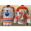 Men's Edmonton Oilers #74 Ethan Bear Cree Syllabics White 2021 Reverse Retro Authentic Jersey