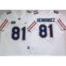 Men's Florida Gators #81 Aaron Hernandez White 2020 College Football Jersey