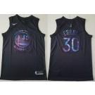 Men's Golden State Warriors #30 Stephen Curry Black Iridescent Holographic Icon Swingman Jersey