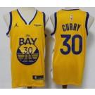 Men's Golden State Warriors #30 Stephen Curry Yellow Statement Icon Sponsor Swingman Jersey
