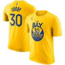 Men's Golden State Warriors #30 Stephen Curry Yellow Statement Printed T Shirt 211060