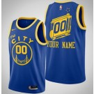 Men's Golden State Warriors Custom Blue Classic Icon Hot Press Jersey