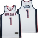 Men's Gonzaga Bulldogs #1 Jalen Suggs White College Basketball Jersey