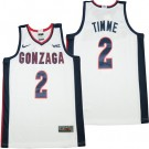 Men's Gonzaga Bulldogs #2 Drew Timme White College Basketball Jersey