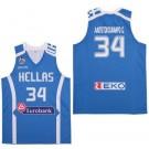 Men's Greece Hellas #34 Giannis Antetokounmpo Blue Basketball Swingman Jersey