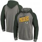 Men's Green Bay Packers Gray Slant Strike Tri Blend Raglan Pullover Hoodie