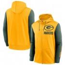 Men's Green Bay Packers Yellow Green Fan Gear Mascot Performance Full Zip Hoodie