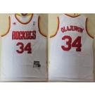 Men's Houston Rockets #34 Hakeem Olajuwon White Hollywood Classics Throwback Swingman Jersey