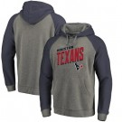Men's Houston Texans Gray Slant Strike Tri Blend Raglan Pullover Hoodie