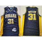 Men's Indiana Pacers #31 Reggie Miller Navy Stripes Hollywood Classic Throwback Swingman Jersey
