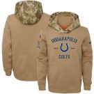 Men's Indianapolis Colts Khaki 2019 Salute to Service Therma Printed Pullover Hoodie