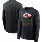 Men's Kansas City Chiefs Black 2020 Salute To Service Long Sleeves T Shirt 204
