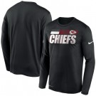 Men's Kansas City Chiefs Black Sideline Impact Legend Performance Long Sleeves T Shirt 622