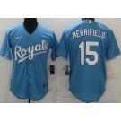 Men's Kansas City Royals #15 Whit Merrifield Light Blue 2020 Cool Base Jersey