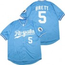 Men's Kansas City Royals #5 George Brett Light Blue 1985 Throwback Jersey