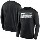 Men's Las Vegas Raiders Black Sideline Impact Legend Performance Long Sleeves T Shirt 605