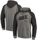 Men's Las Vegas Raiders Gray Slant Strike Tri Blend Raglan Pullover Hoodie