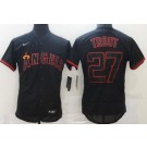 Men's Los Angeles Angels #27 Mike Trout Black Lights Out FlexBase Jersey