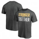 Men's Los Angeles Chargers Heather Charcoal Stronger Together Printed T-Shirt 0864