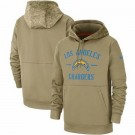 Men's Los Angeles Chargers Tan 2019 Salute to Service Sideline Therma Printed Pullover Hoodie