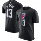 Men's Los Angeles Clippers #13 Paul George Black Printed T Shirt 211067
