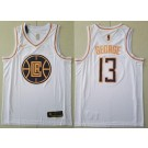 Men's Los Angeles Clippers #13 Paul George White Gold Icon Swingman Jersey